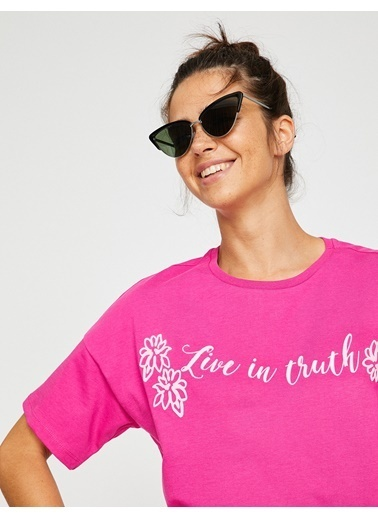 Koton Yazılı Baskılı T-Shirt Fuşya